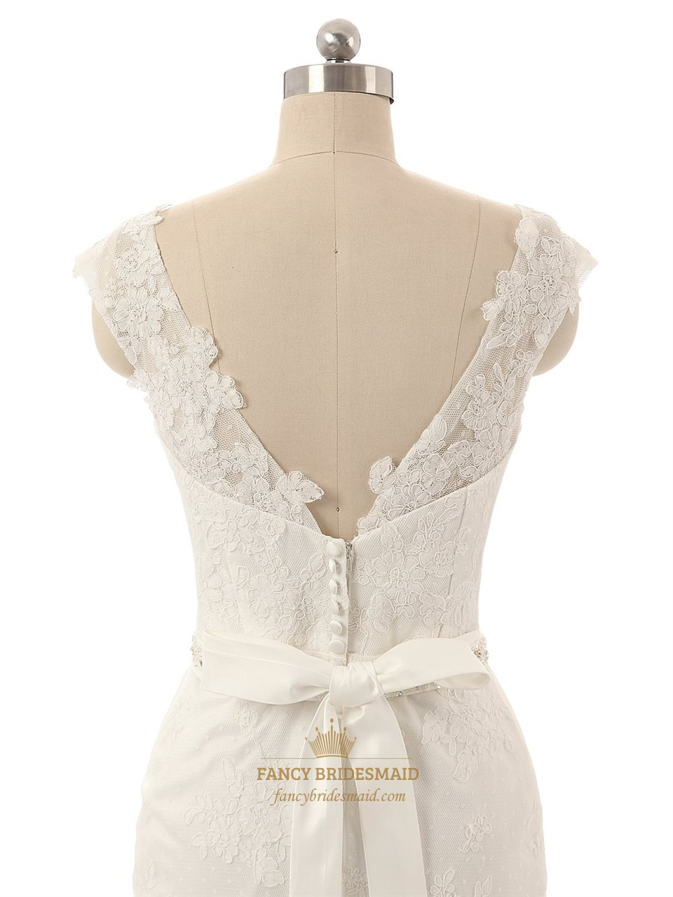 White lace applique sheer neckline cap sleeves wedding for Lace white wedding dress