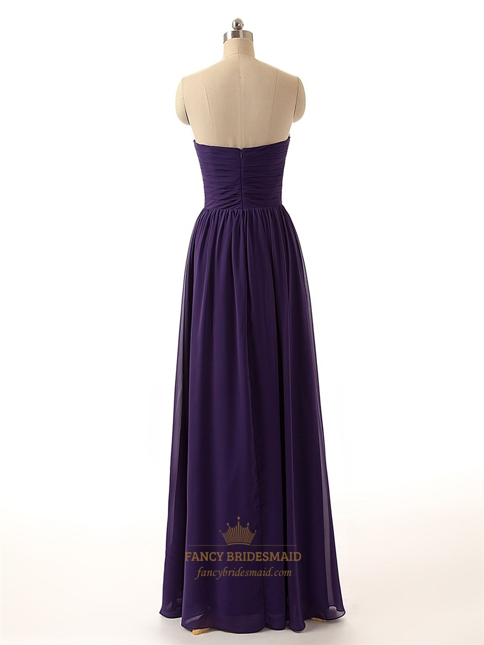 purple strapless beaded sweetheart neckline ruched bodice