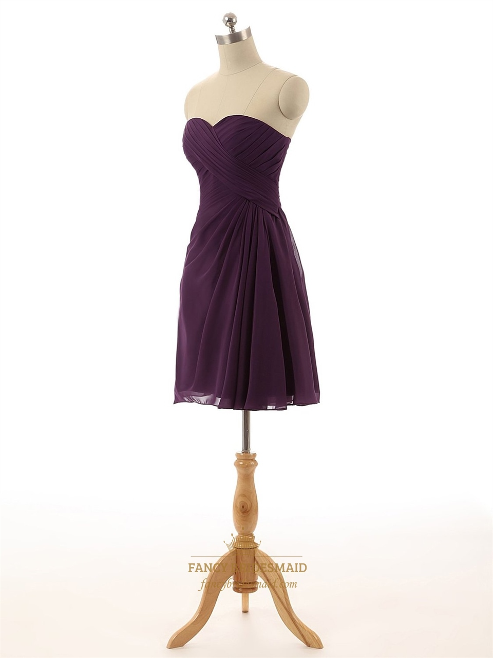 Purple Strapless Pleated A Line Short Knee Length