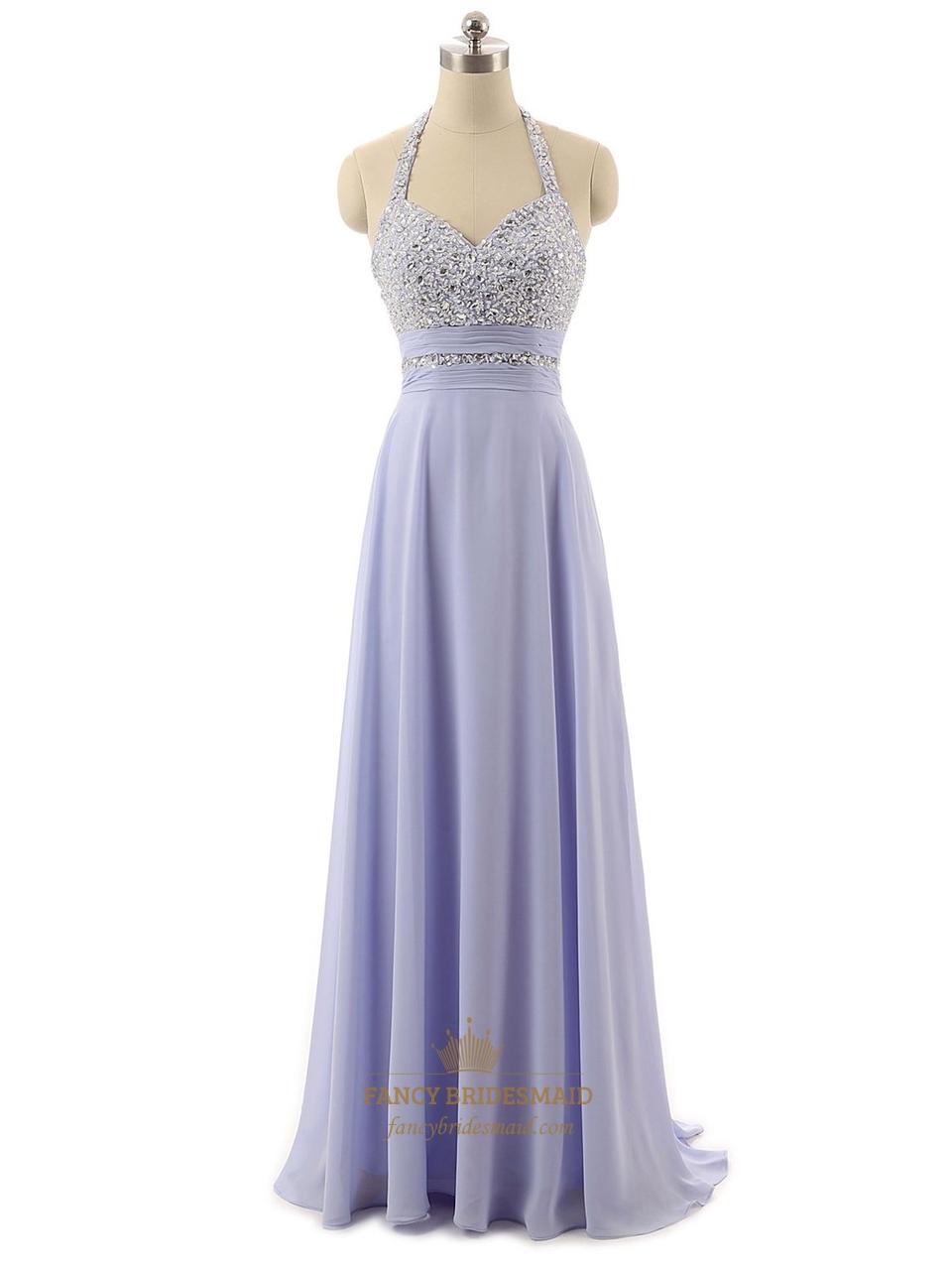 Lavender Beaded Bodice Halter Neck Chiffon Formal Dress