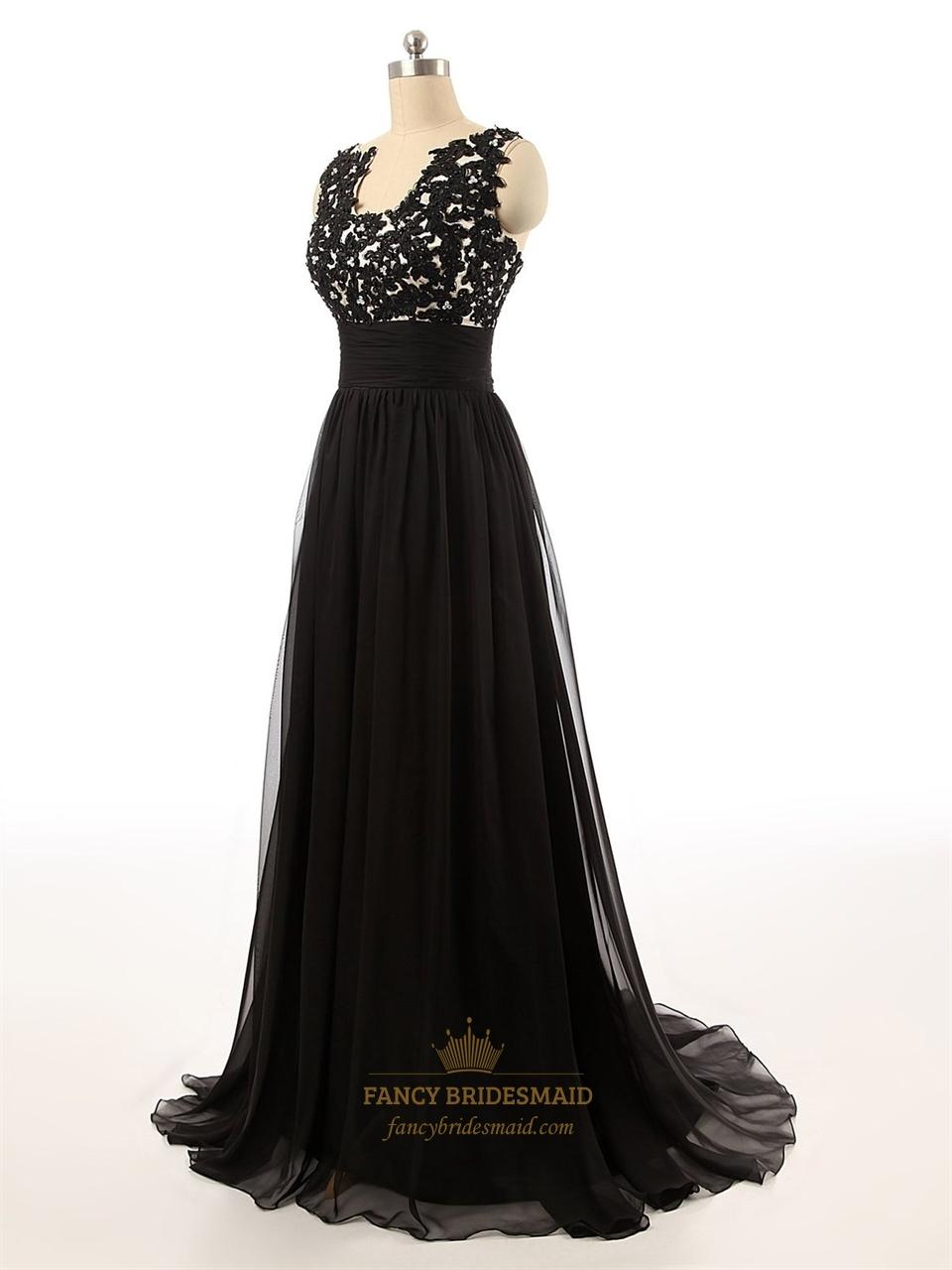 Black Full Length Empire Waist Lace Applique Bodice