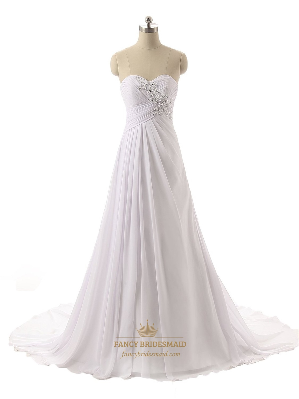 White strapless ruched bodice sweetheart neckline wedding for Sweetheart neckline wedding dress