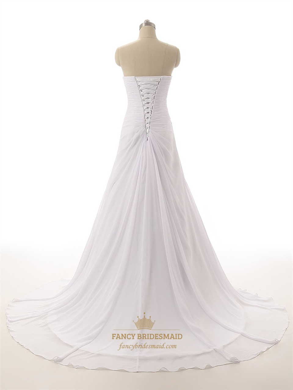White strapless ruched bodice sweetheart neckline wedding for Strapless wedding dresses with long trains