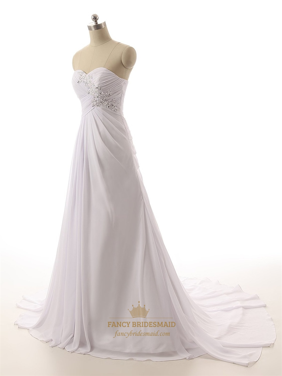 white strapless ruched bodice sweetheart neckline wedding