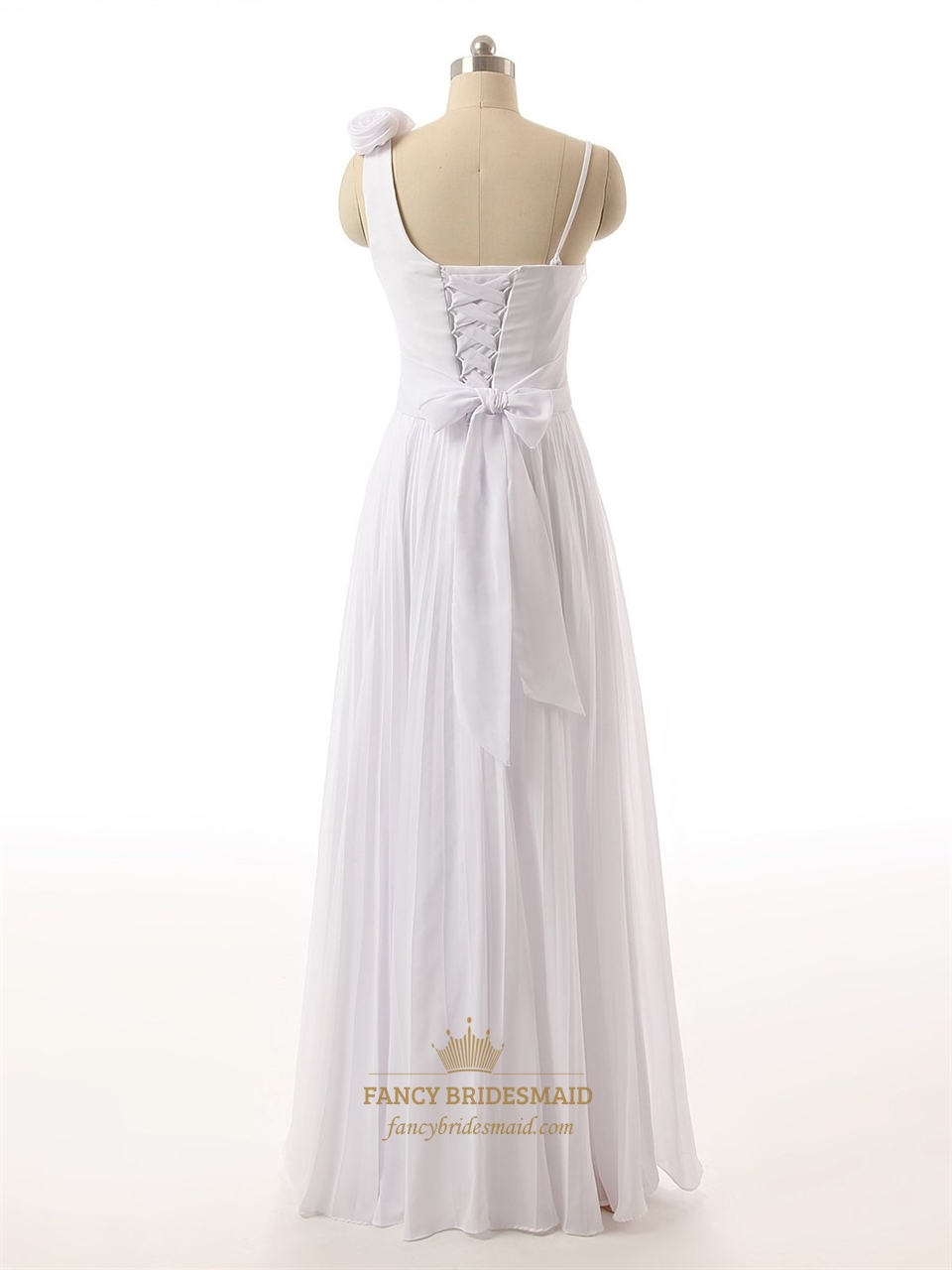 White roses one shoulder ruched bodice chiffon dress with for Wedding dresses lace up back