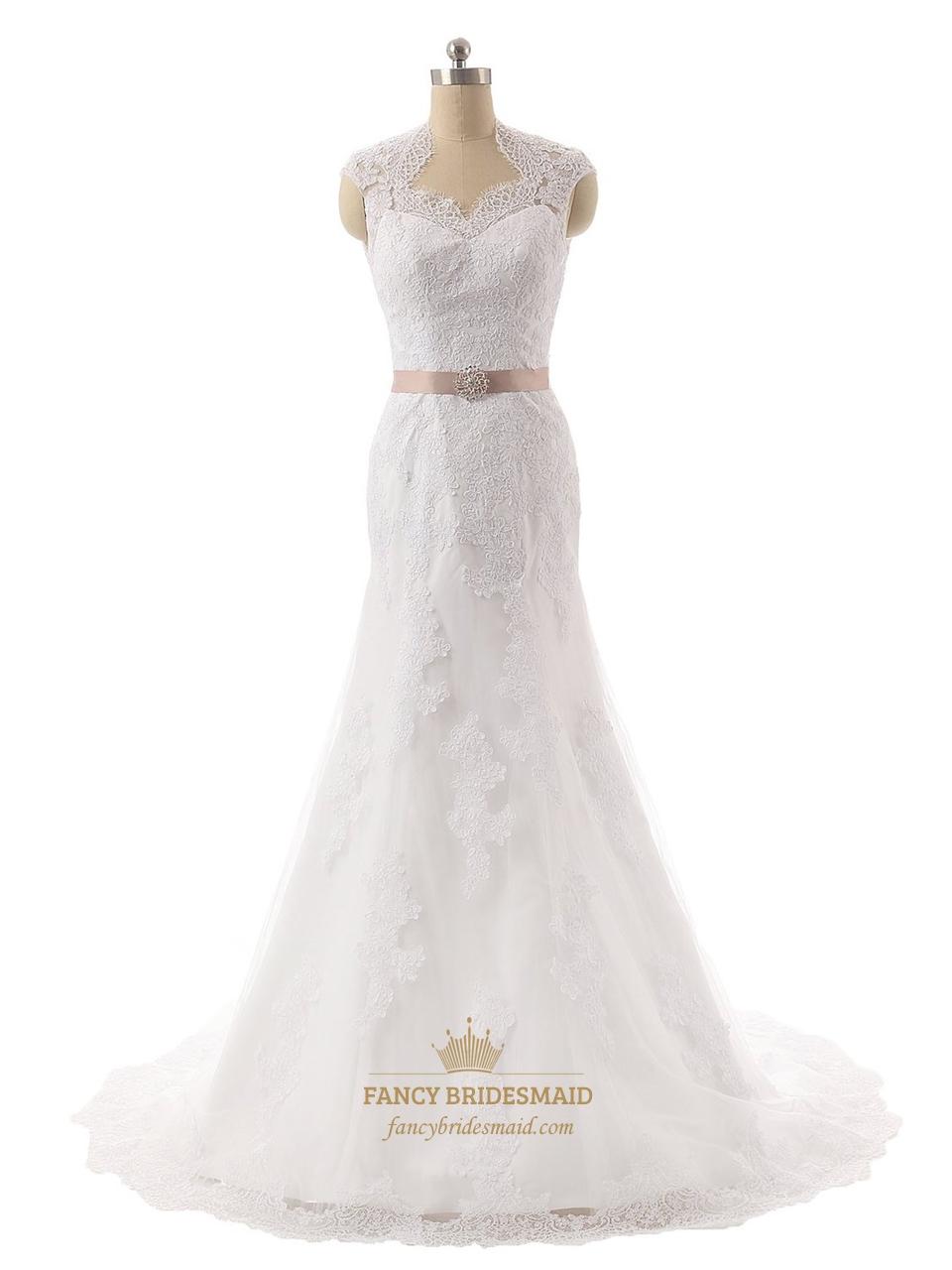 Lace mermaid wedding dress with keyhole back fancy for Keyhole back wedding dresses