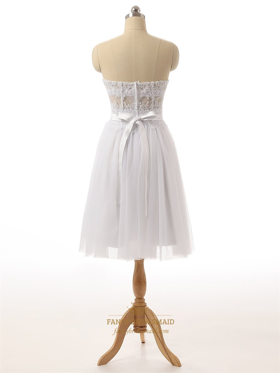 white strapless sheer lace corset bodice knee length