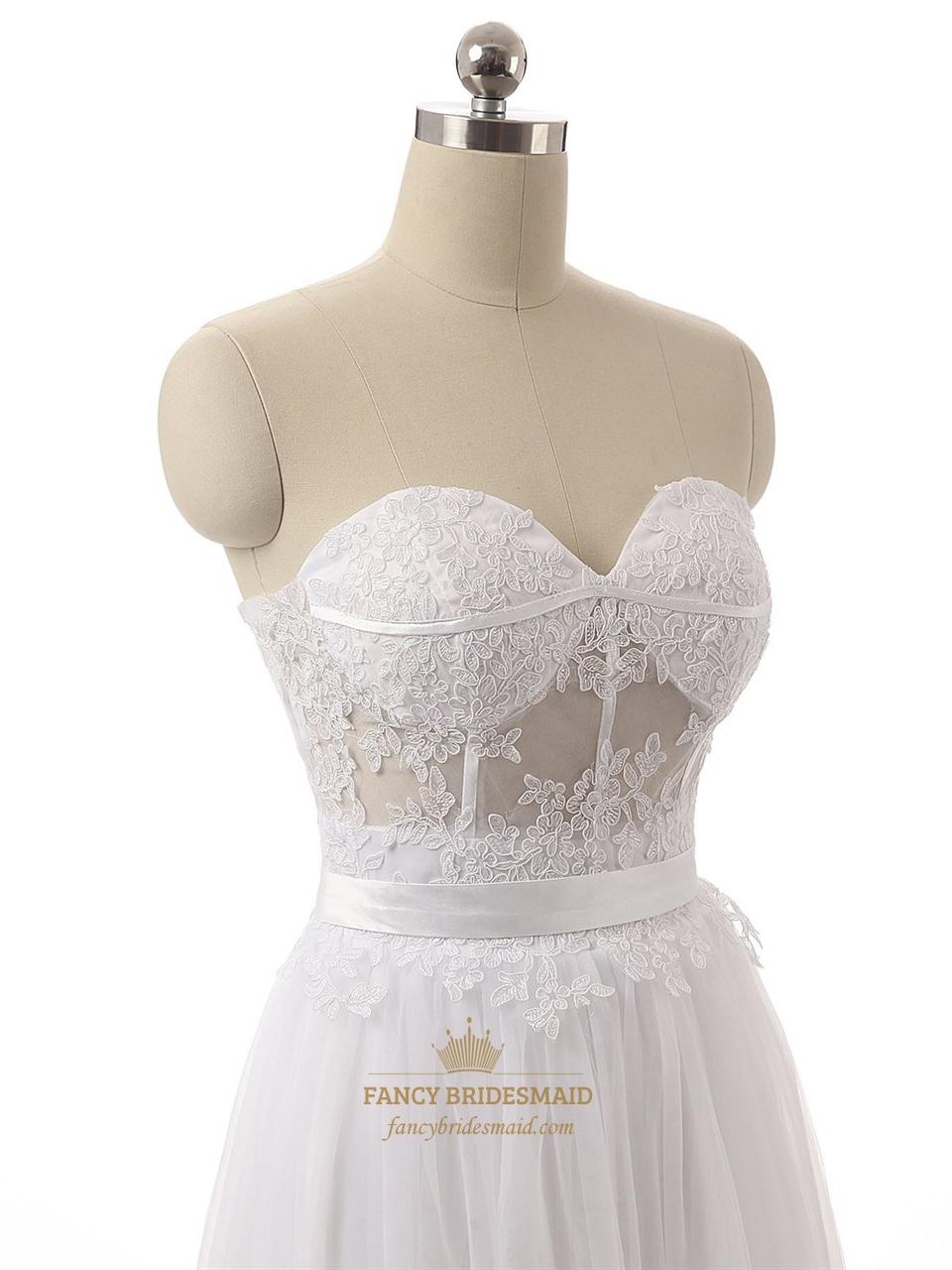 White strapless sheer lace corset bodice knee length for Strapless bra corset wedding dress