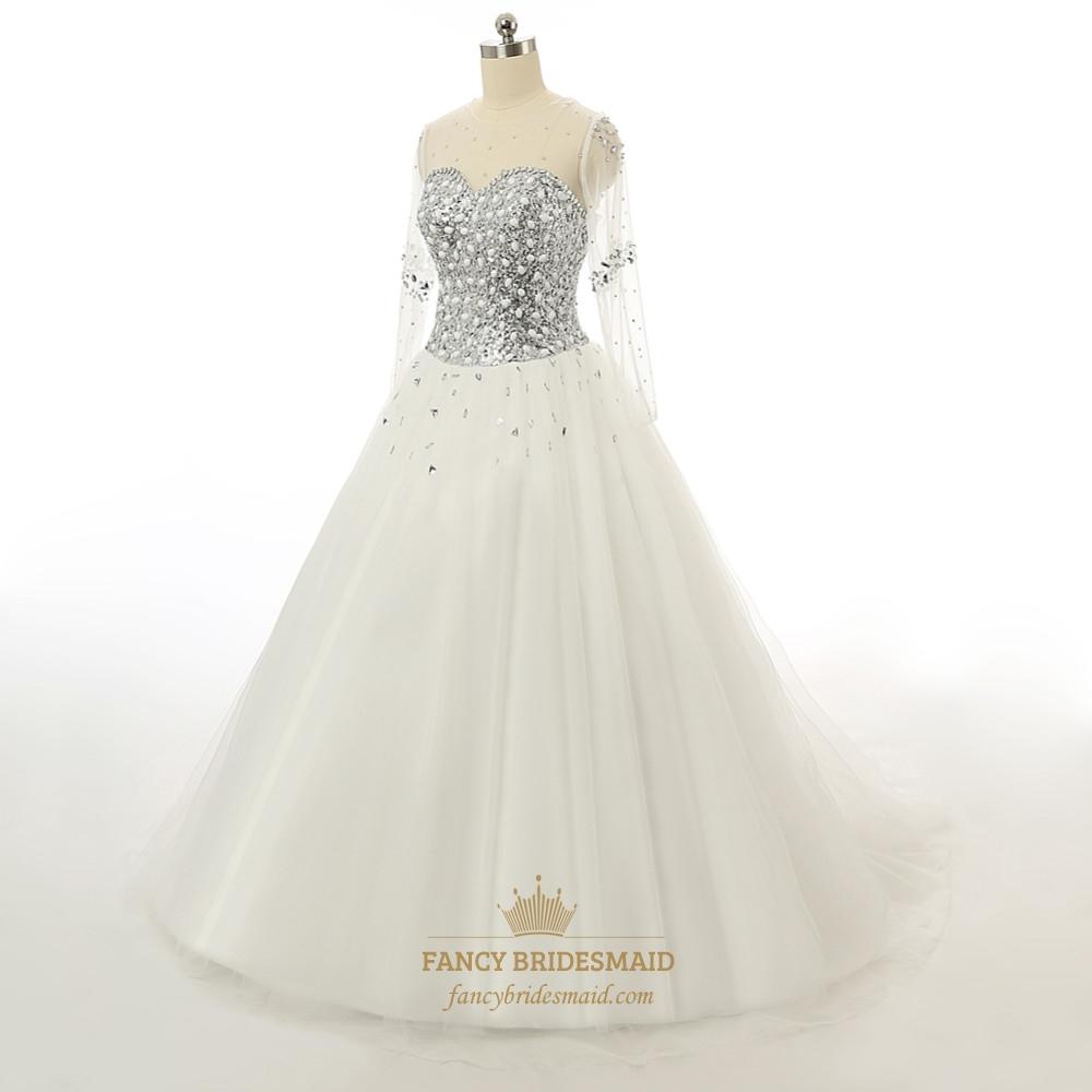 Jeweled Wedding Gowns: Rhinestone Bodice Jeweled Corset Lace Wedding Dress With