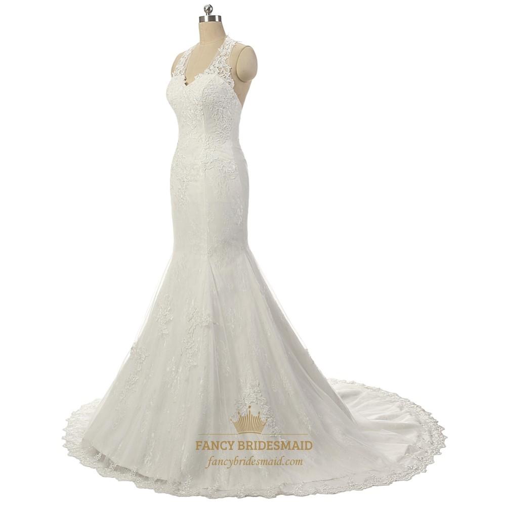 Elegant sleeveless lace halter court wedding dress fancy for Classy lace wedding dresses