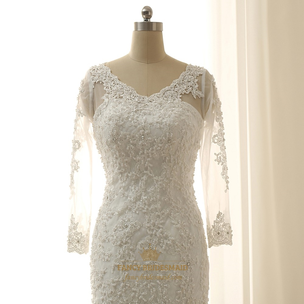 ivory mermaid lace v neck wedding dress with sheer sleeves