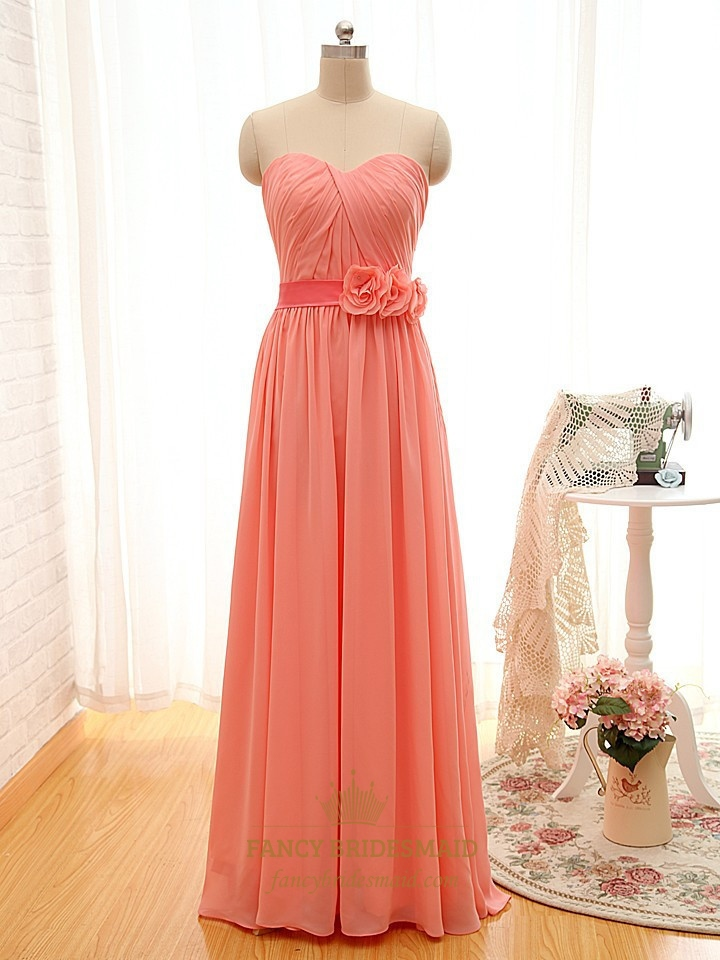 Coral chiffon ruched bodice dress with sweetheart neckline for Sweetheart neckline ruched bodice wedding dress