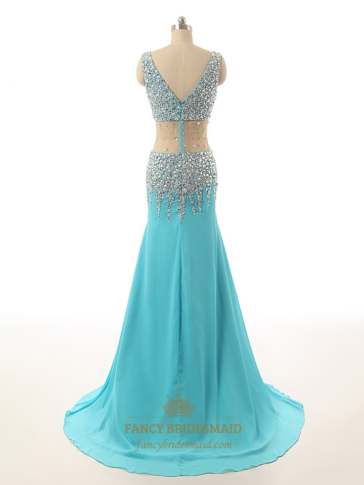 Aqua Blue Chiffon Sheer Illusion Neckline Beaded Bodice Long Prom ...
