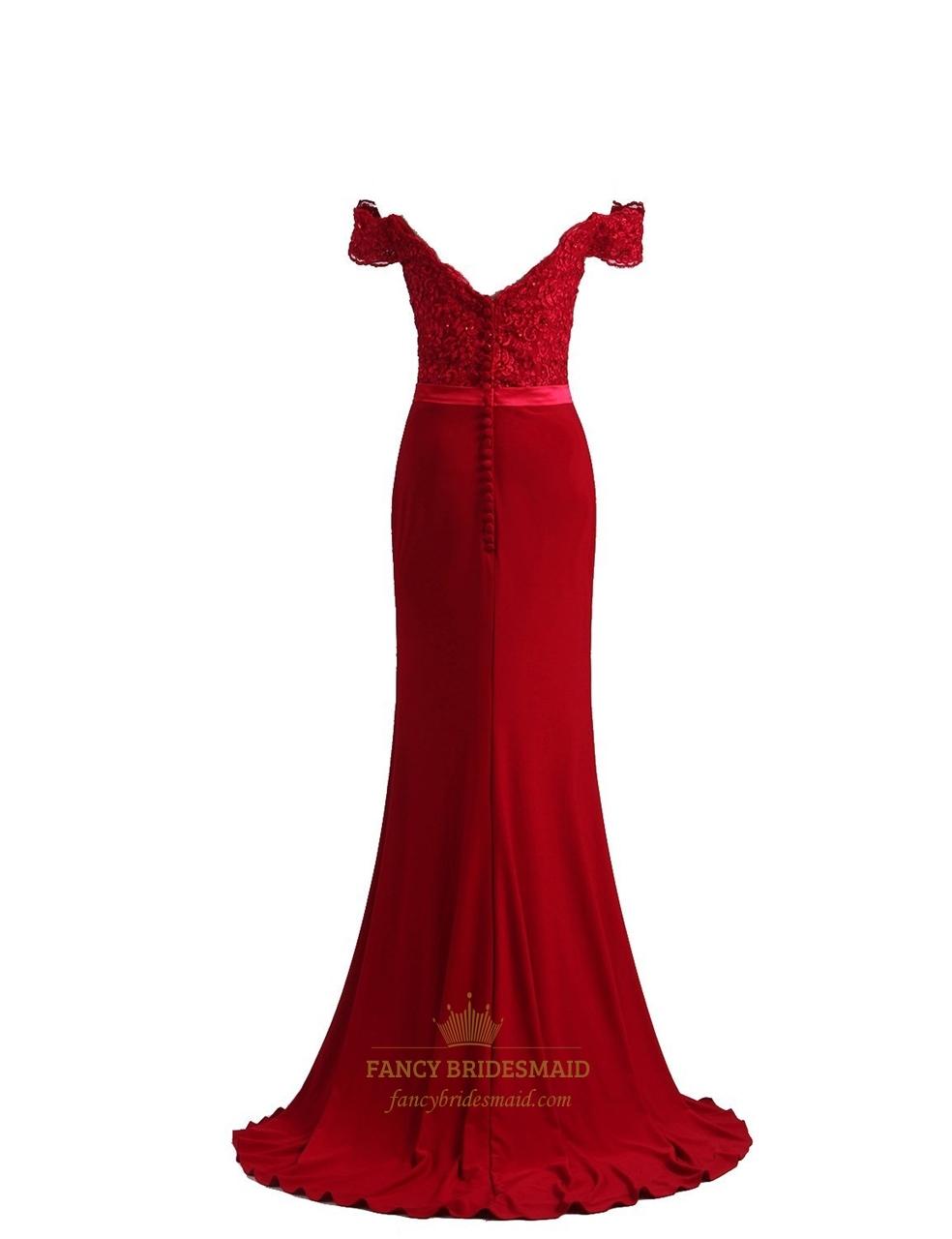 Elegant burgundy mermaid off the shoulder sweep brush train prom dress