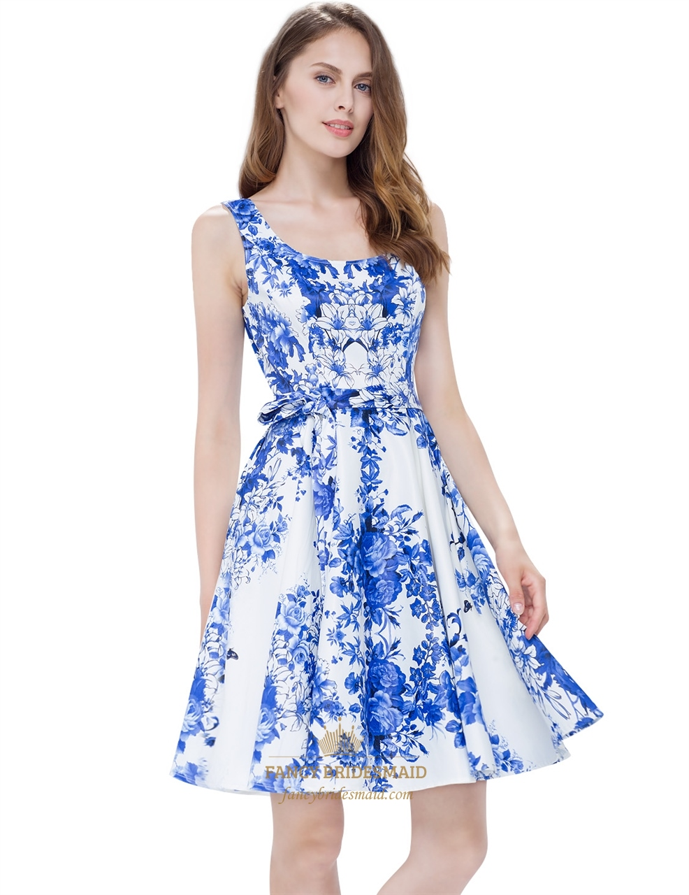 dc56e5caab87 White Floral Print Sleeveless Scoop Neck Fit And Flare Skater Dress ...