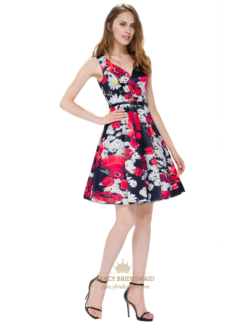 black peach shape collar floral print sleeveless fit and flare dress