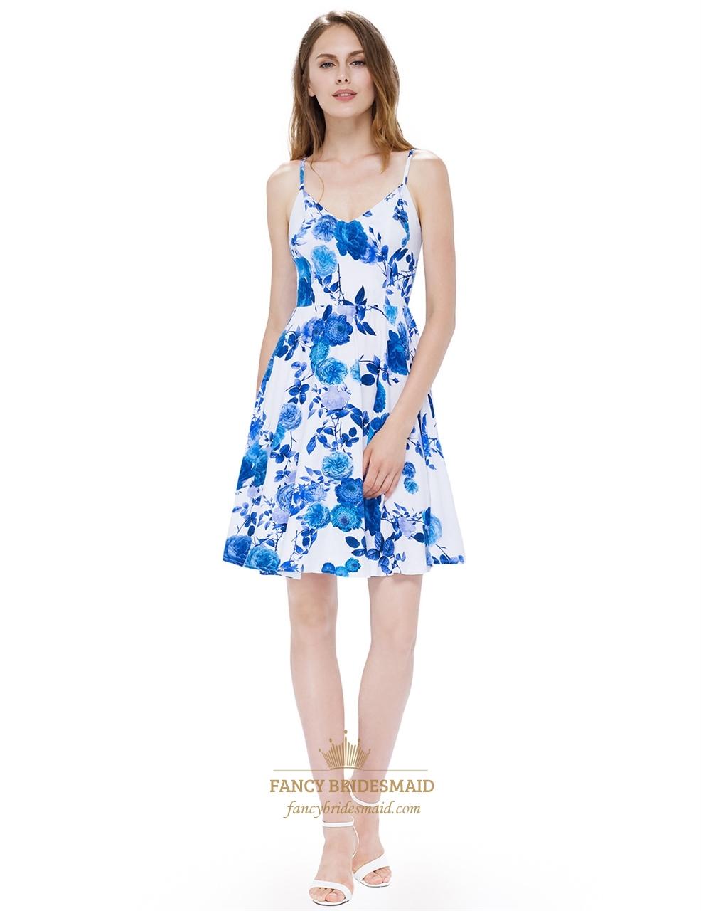 White Spaghetti Strap Sleeveless A Line Causal Dress With