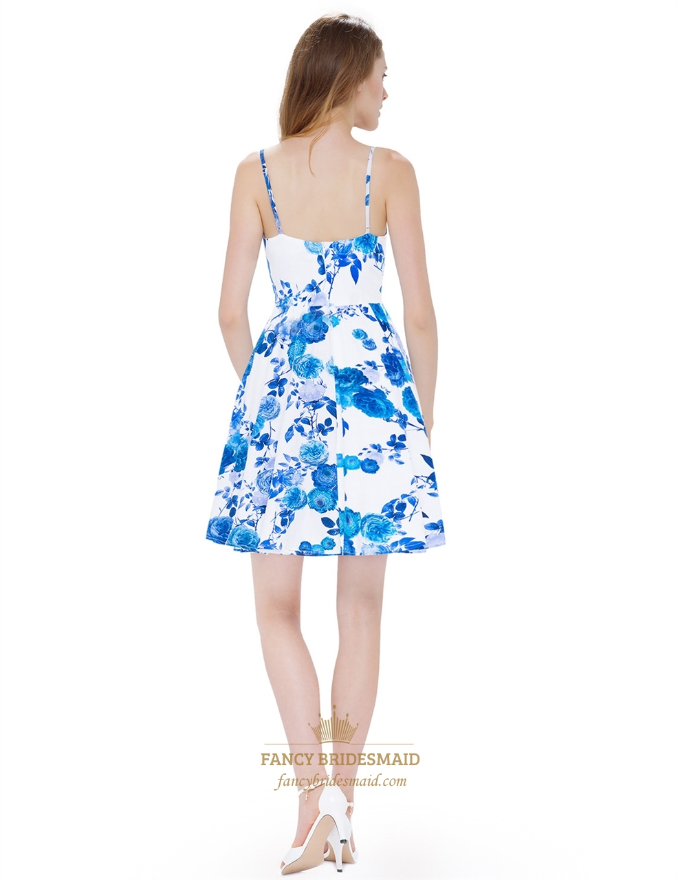 White Spaghetti Strap Sleeveless A Line Causal Dress With Blue Flower