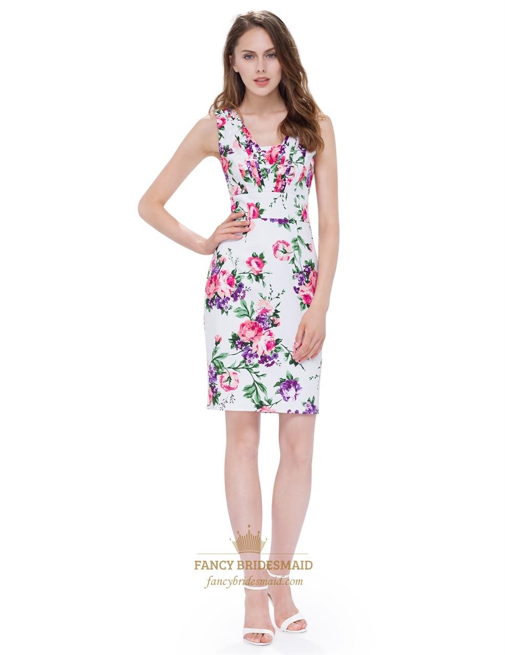 White v neck floral print sleeveless knee length sheath for Casual sheath wedding dresses
