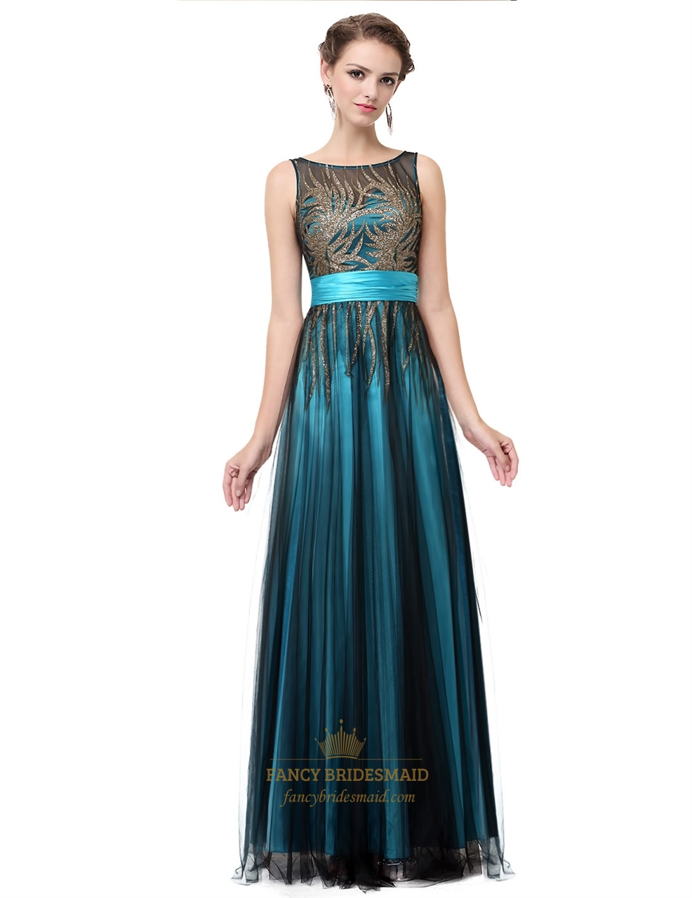 Teal Round Neck Sequin Embellished Tulle Long Prom Dress