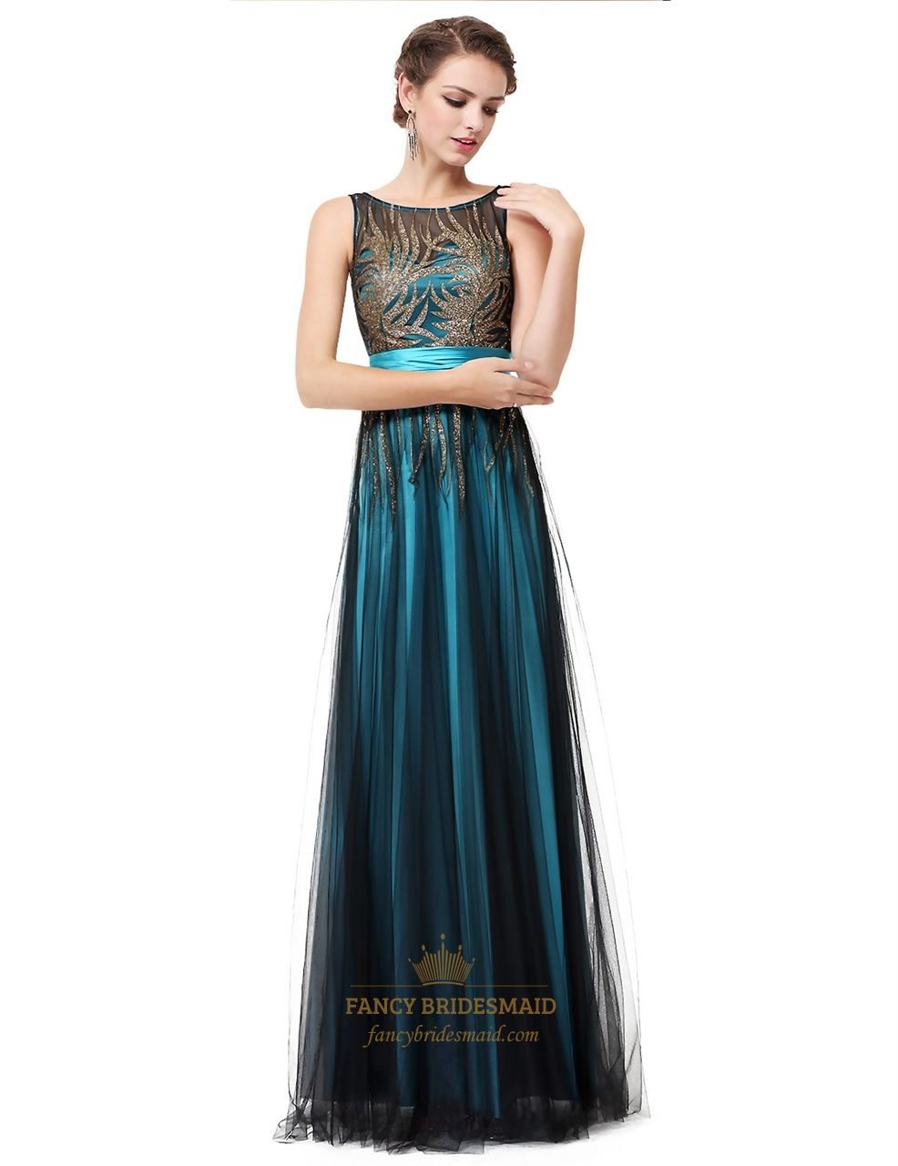 03184f99a0 Teal Round Neck Sequin Embellished Tulle Long Prom Dress With Sash ...