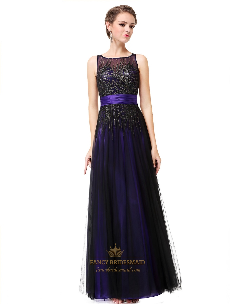 Teal Round Neck Sequin Embellished Tulle Long Prom Dress