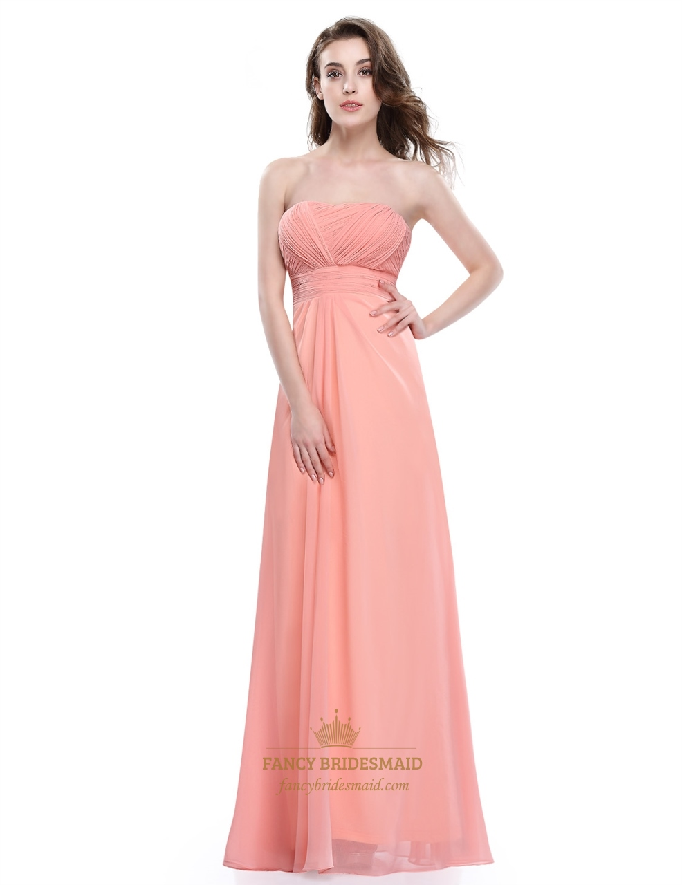 Soft Peach Strapless A Line Empire Long Prom Dress With