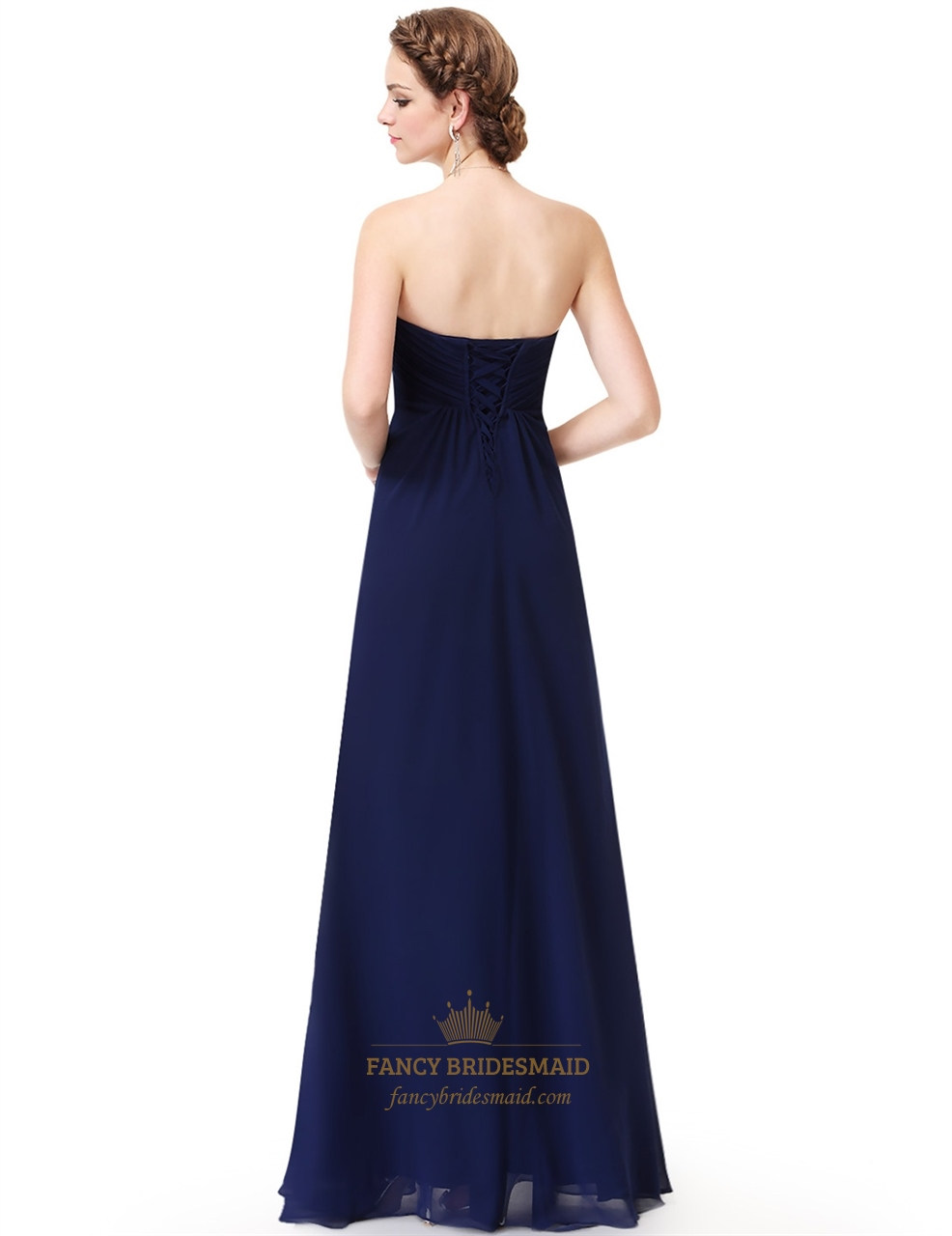 c2152e8e50fb Navy Blue Strapless A-Line Long Ruched Chiffon Prom Dress With Flower