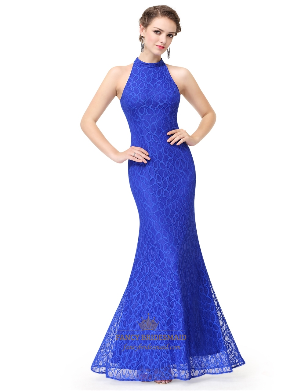 Royal blue halter mermaid sleeveless floor length evening dress fancy bridesmaid dresses for Mermaid halter wedding dresses