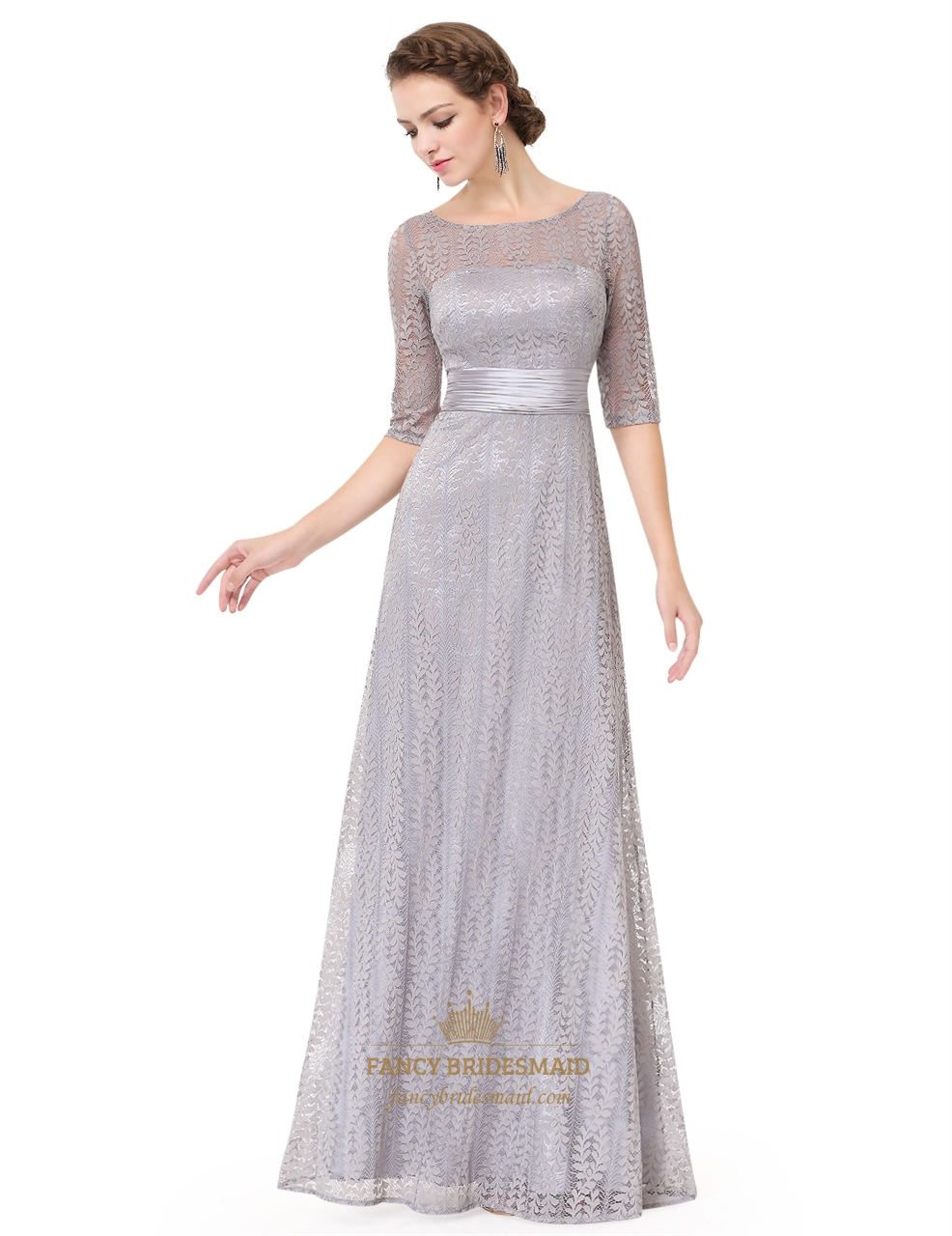 silver lace embellished half sleeves prom dress with