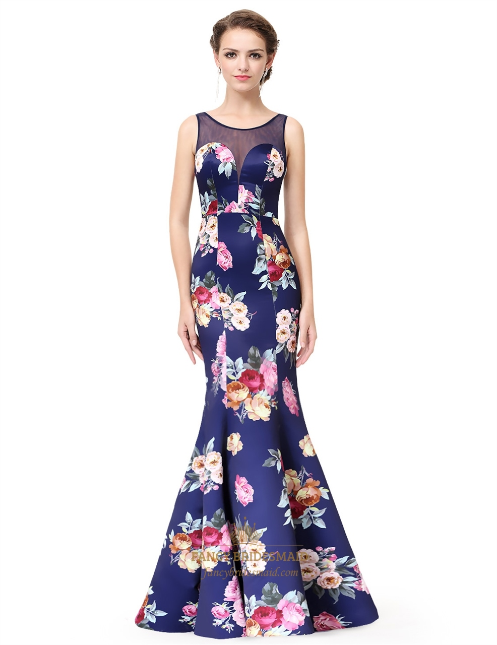 Floral Print Mermaid Evening Dress Open Back Long With Illusion Top ...