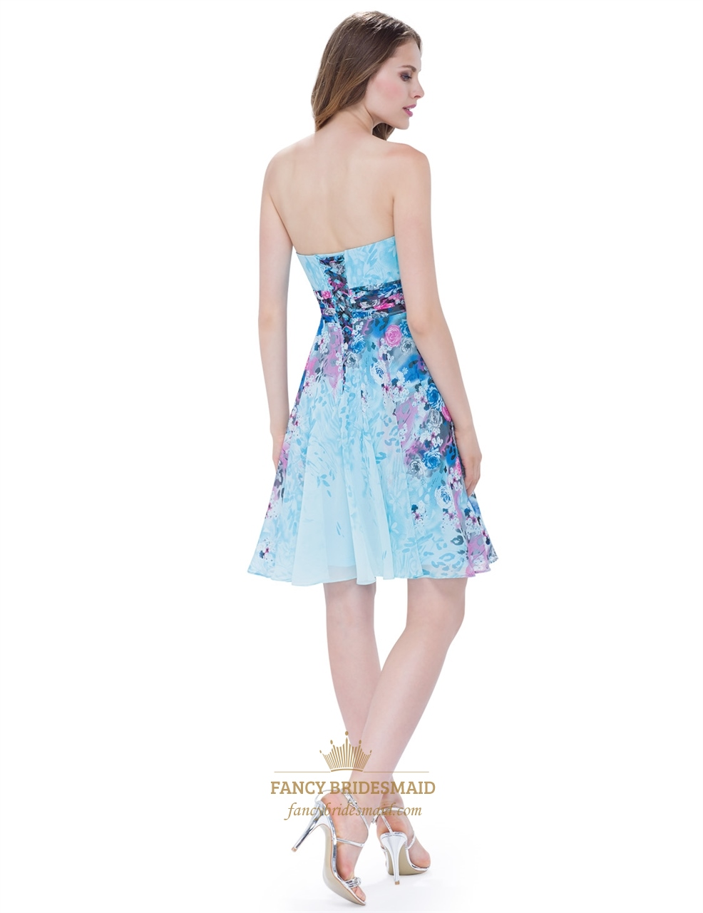 Strapless Floral Short Cocktail Dress With Ruched Bodice ... - photo#19