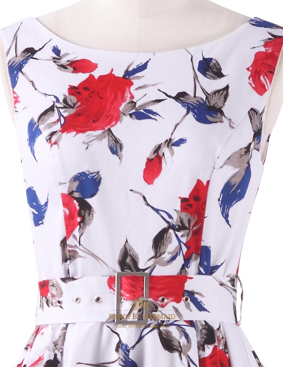af20ca47dc7d White Boat Neck Floral Sleeveless Skater Short Summer Dress With Belt