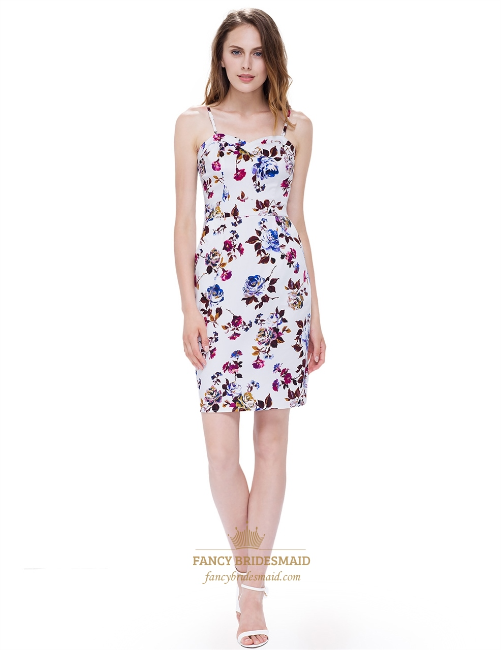 890716bd17 Strapless Sleeveless Floral Bodycon Dress Short With Removable Straps