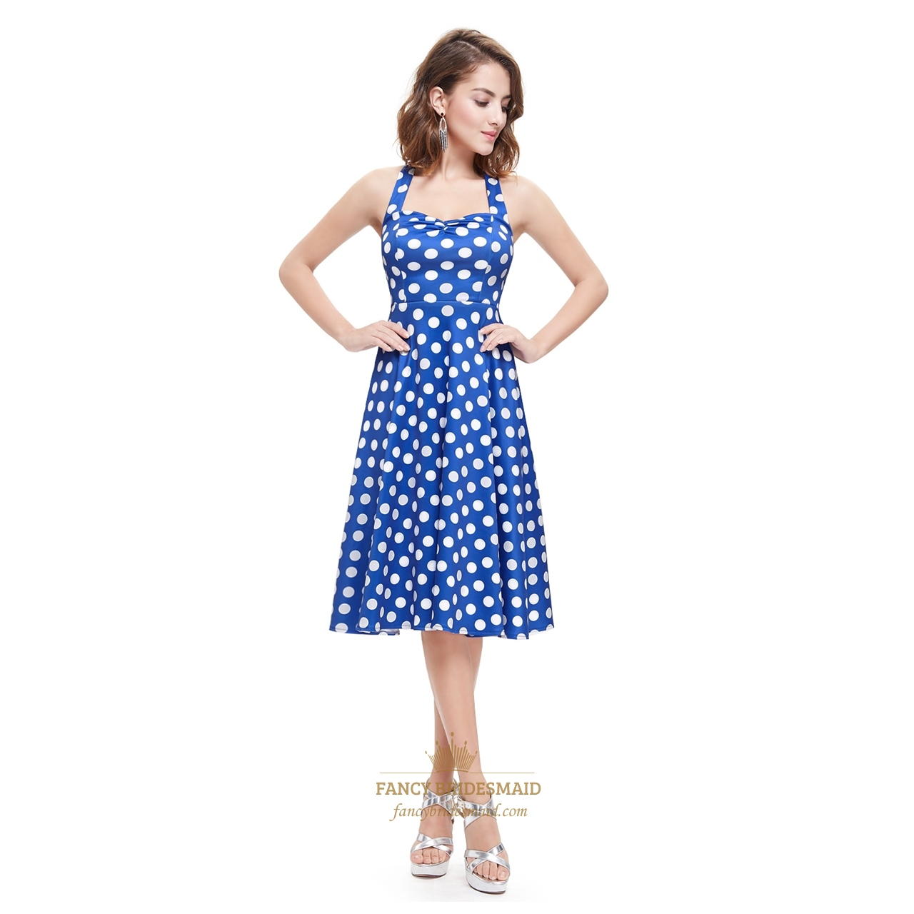 629e323df6864 Blue And White Halter Knee Length Polka Dot Sleeveless Summer Dress SKU  -AP014
