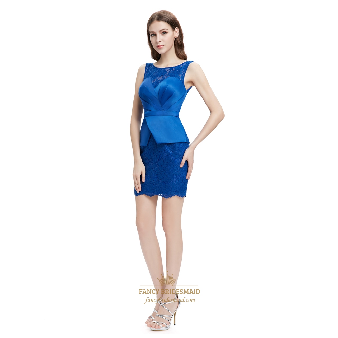 ce7245f9911 Royal Blue Lace Embellished Peplum Pencil Dress With Illusion Neckline