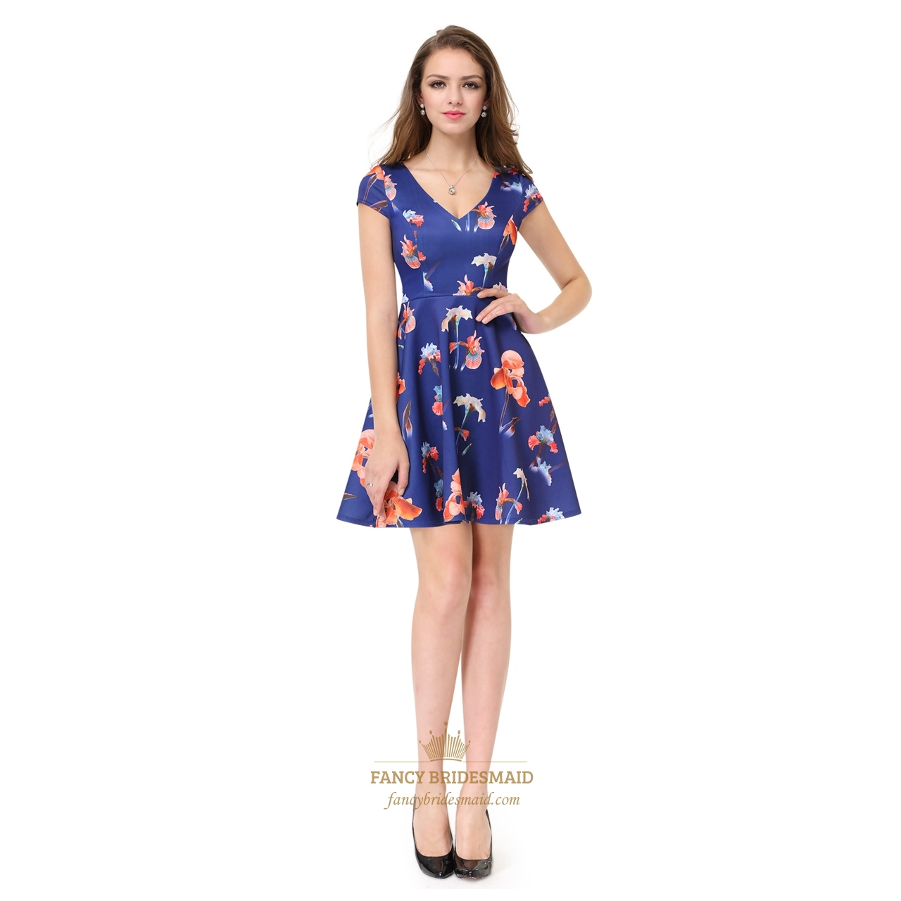 7f6338f27823 V-Neck Floral Print Fit And Flare Short Party Dress With Cap Sleeves SKU  -AP022