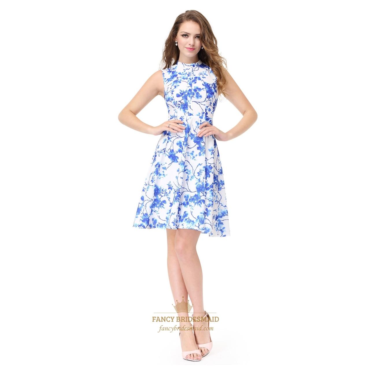 bbbab019e Blue And White Short Sleeveless High Neck Pattern Jacquard Skater Dress SKU  -AP027