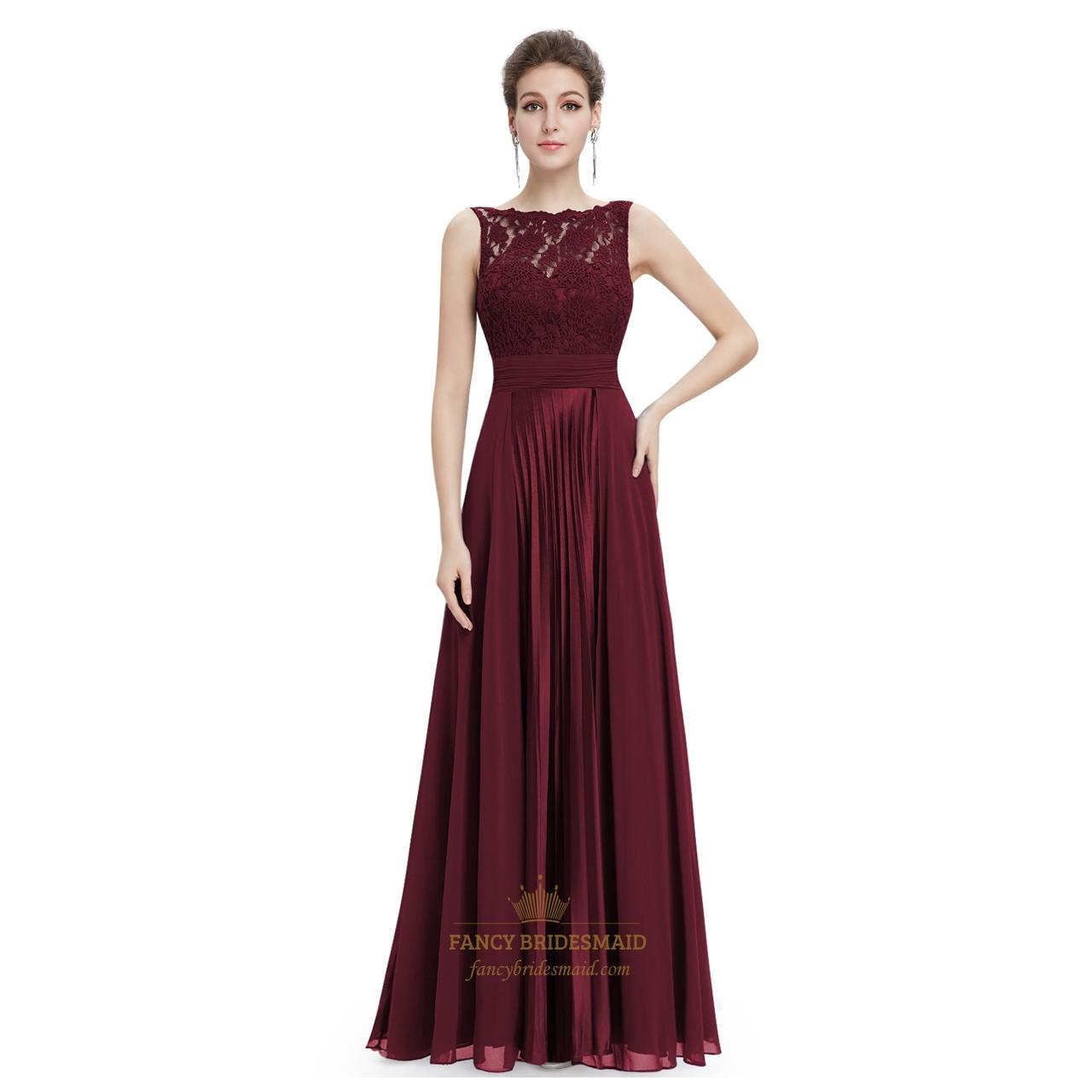 Burgundy Chiffon Sheer Illusion Neckline Lace Bodice Dress With Ruching | Fancy Bridesmaid Dresses