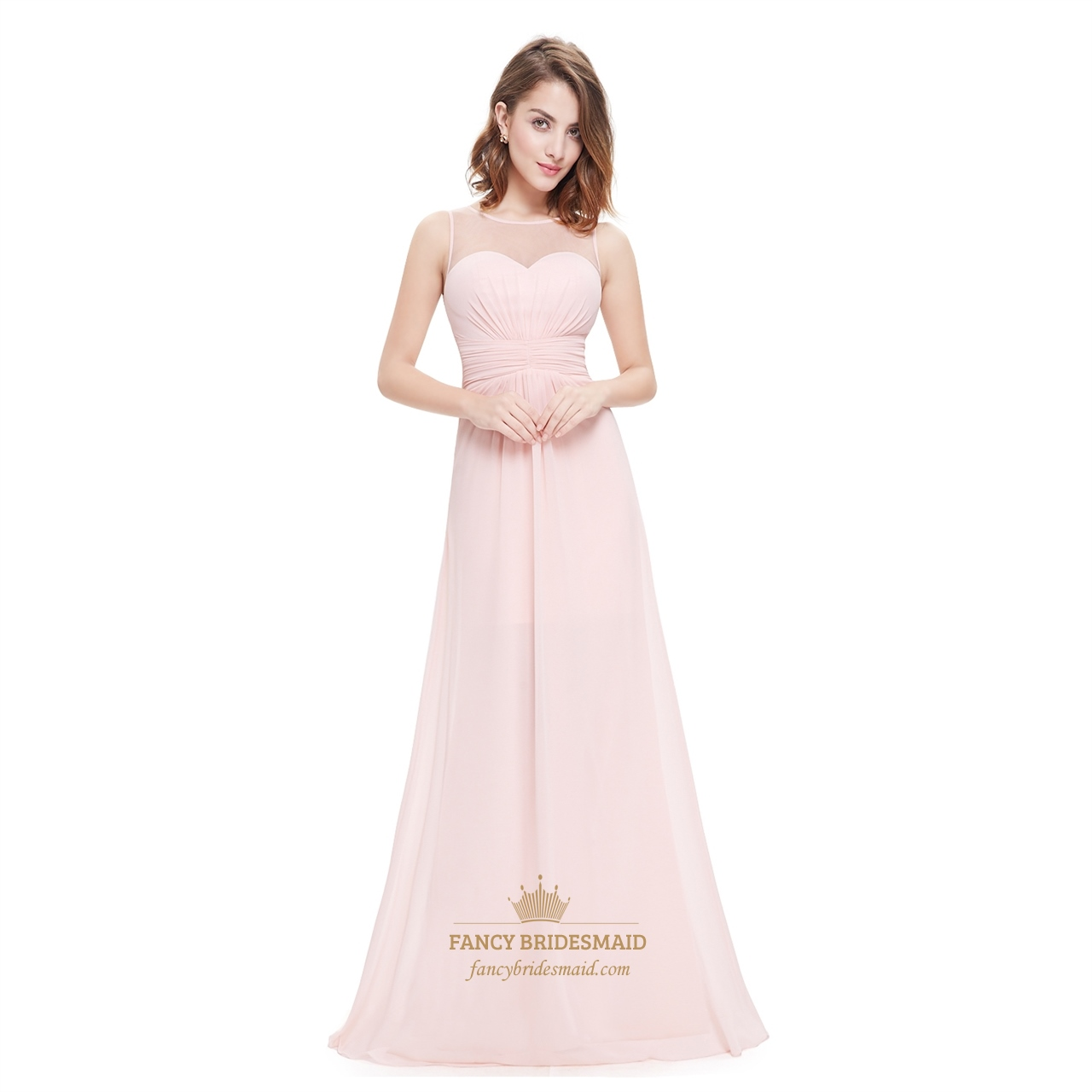 Sheer Long Pink Flowy Chiffon Bridesmaid Dress With Gathered Bodice