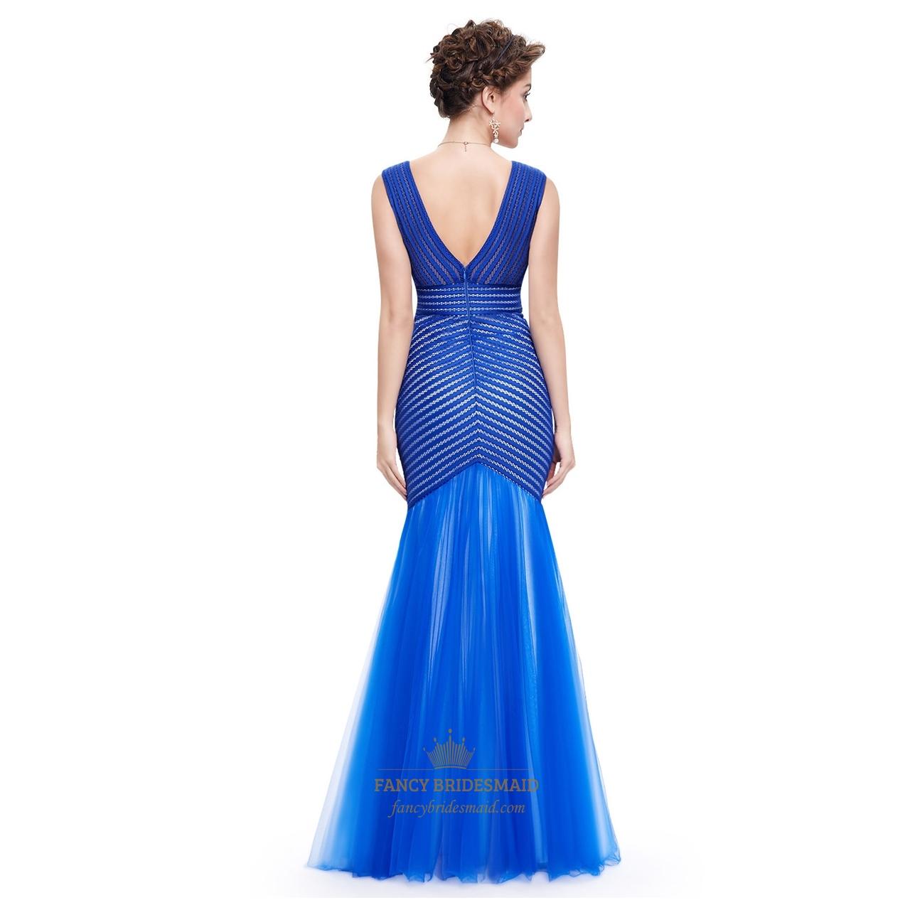 Royal Blue Sweetheart Mermaid Sheer Back Evening Dress