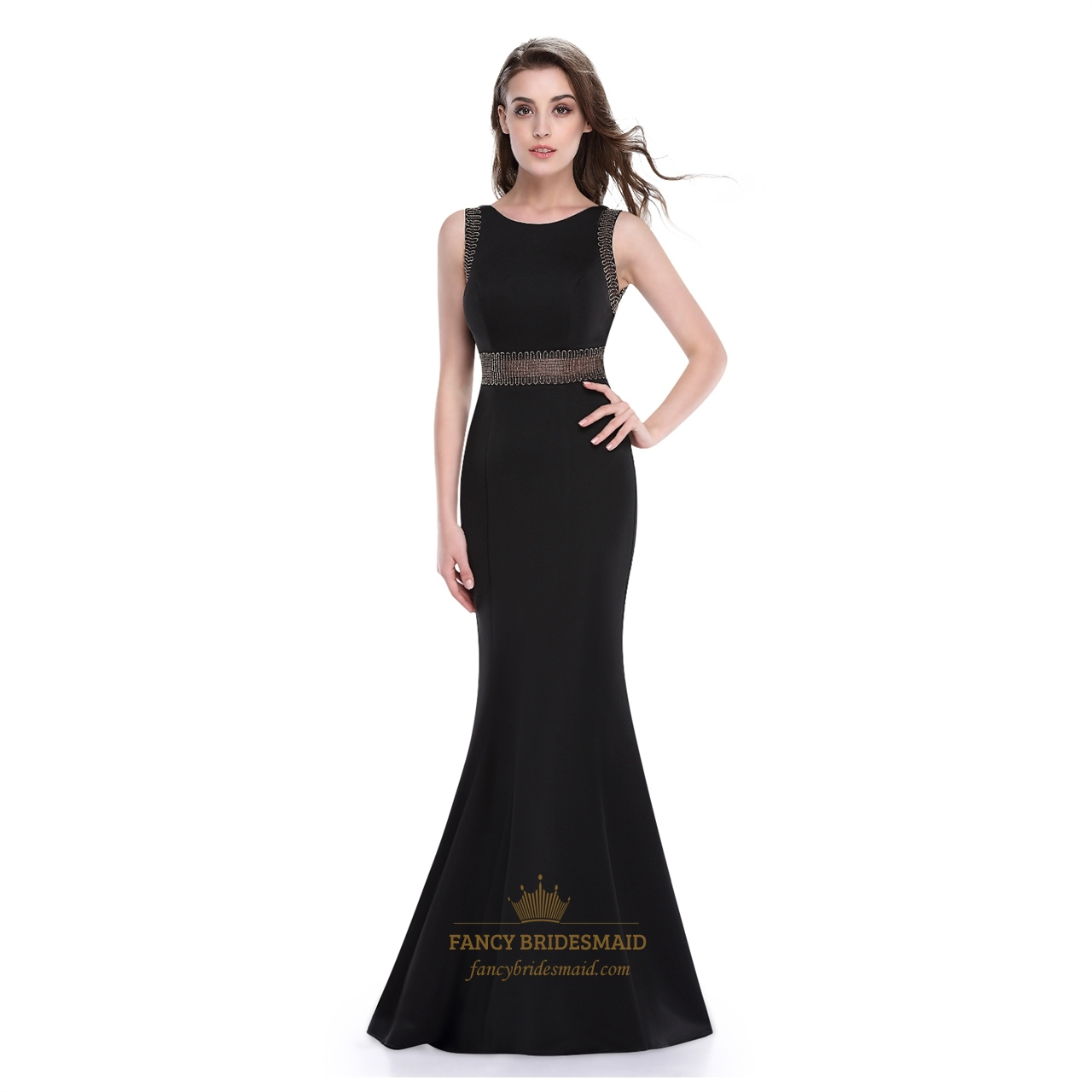 Black mermaid floor length sleeveless prom dress with for Floor length dresses