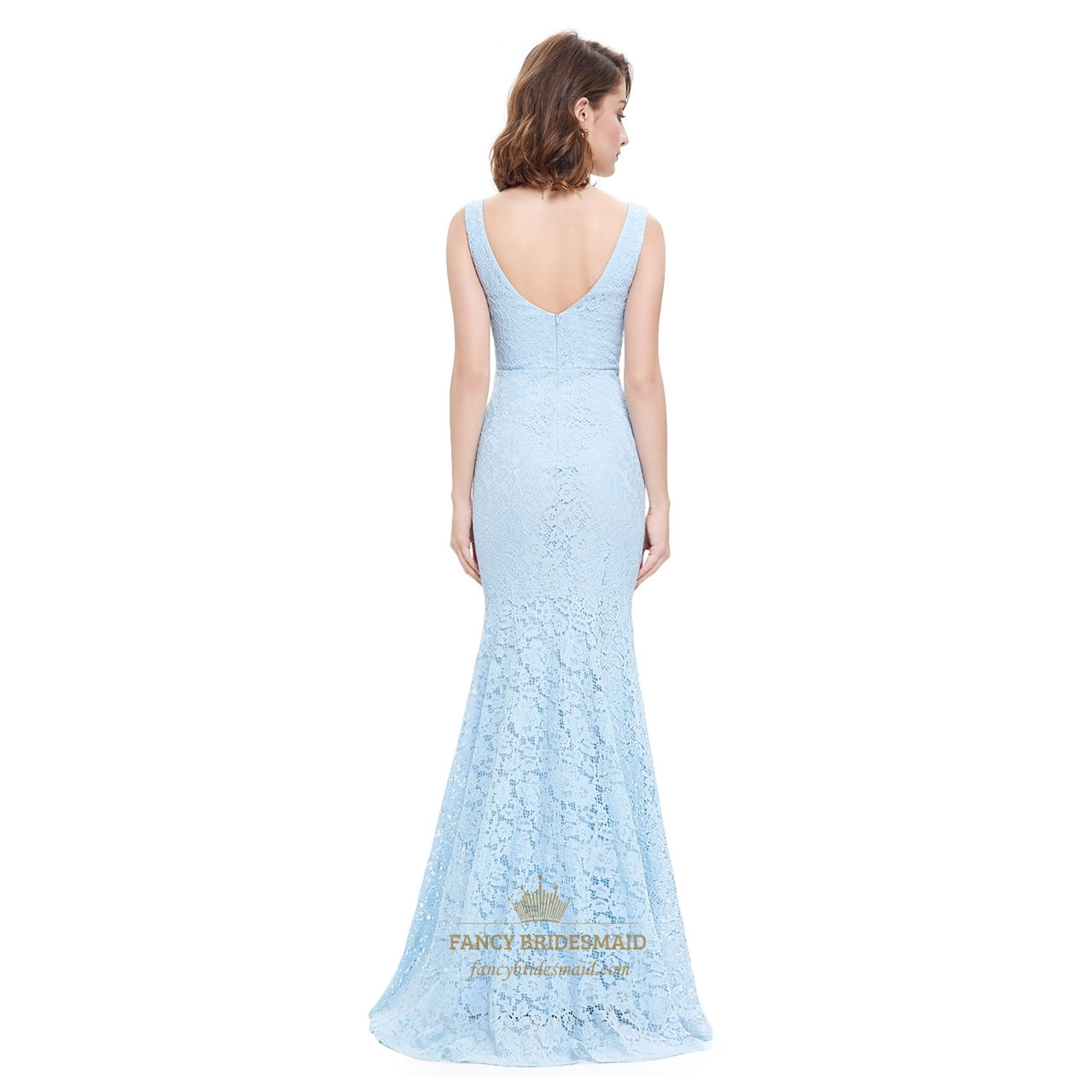 Sky blue lace overlay mermaid plunging sweetheart neckline for Blue lace wedding dress