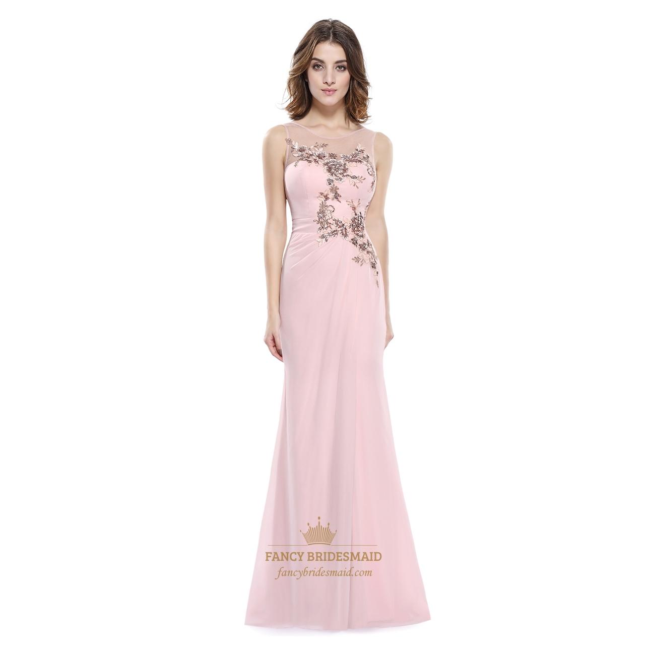 Pearl pink applique chiffon sheer illusion neckline sheath for Wedding dresses with sheer illusion neckline