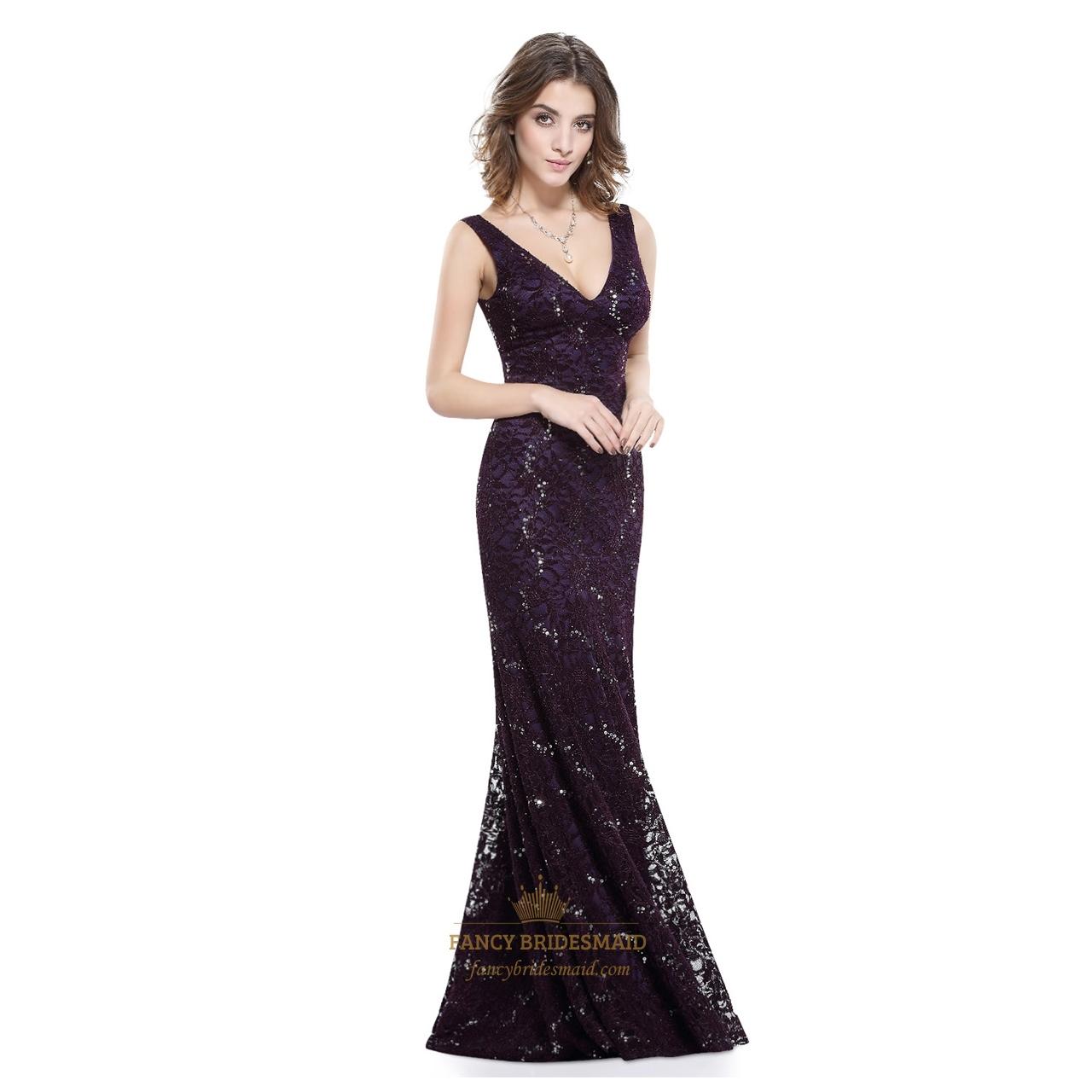 vintage dark purple lace sequin mermaid v neck sleeveless