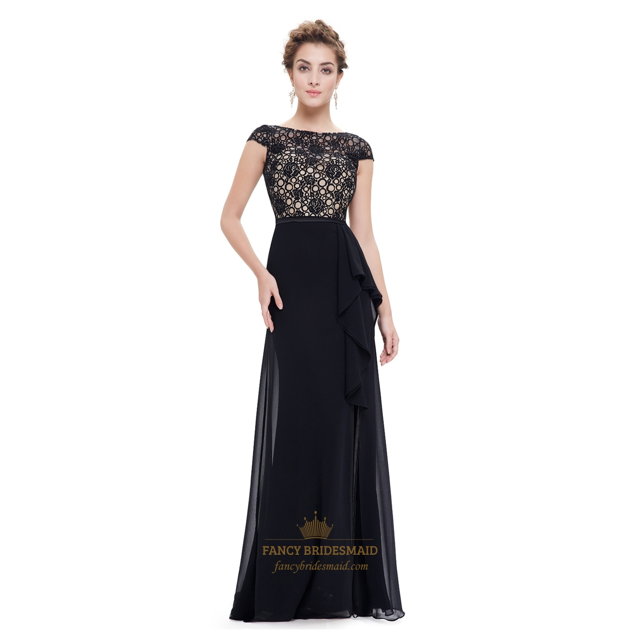 2019 year for lady- Lace black bridesmaid dresses with sleeves