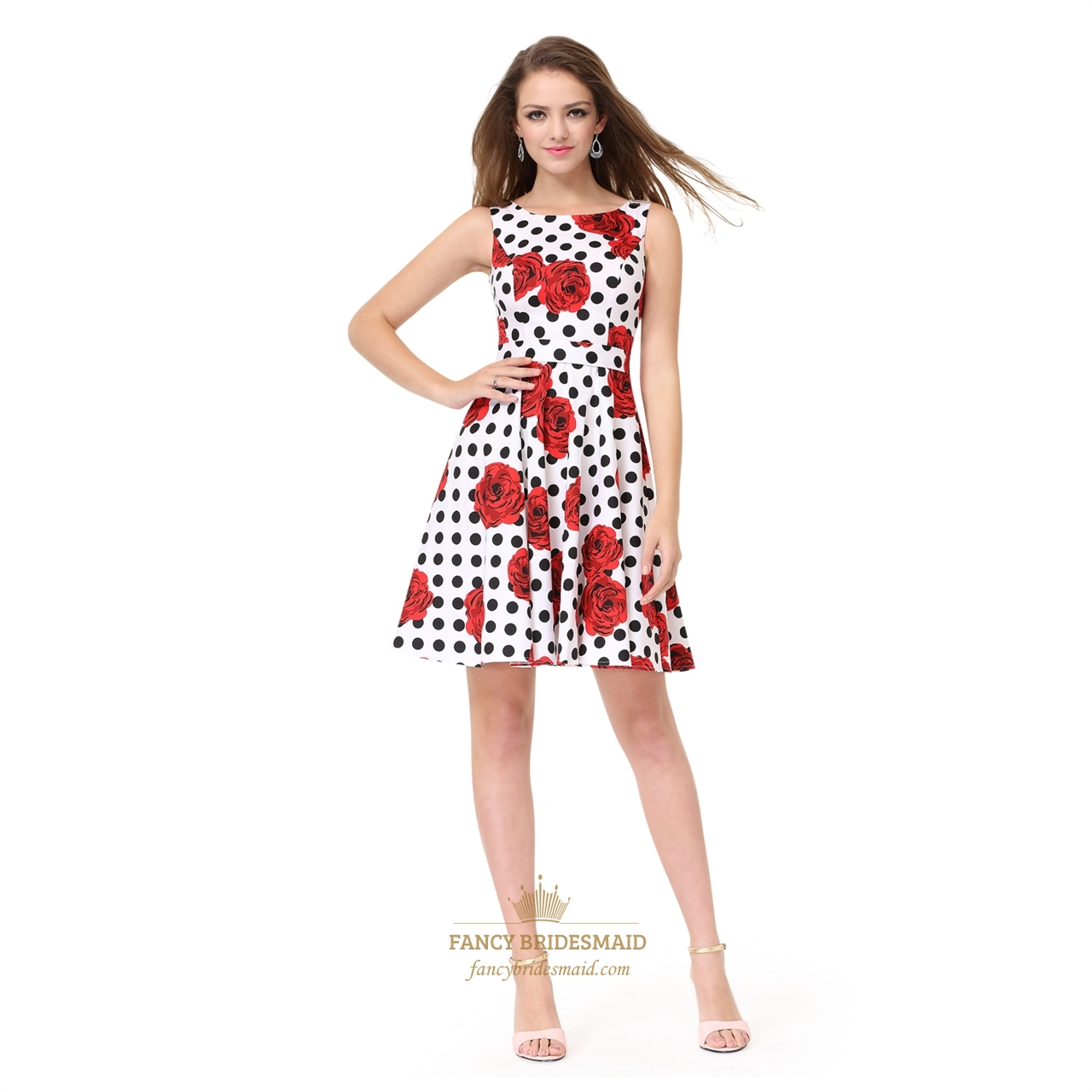 dd9c5b988c09 White Sleeveless A-Line Fit   Flare Skater Dress With Red Floral Print
