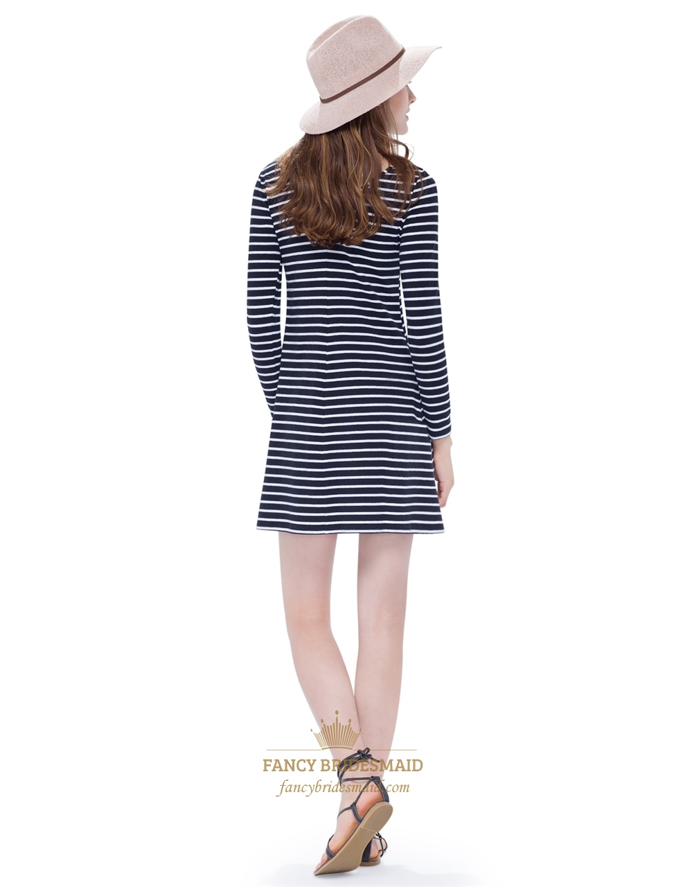Classic Loose Black And White Striped T Shirt Dress With ...