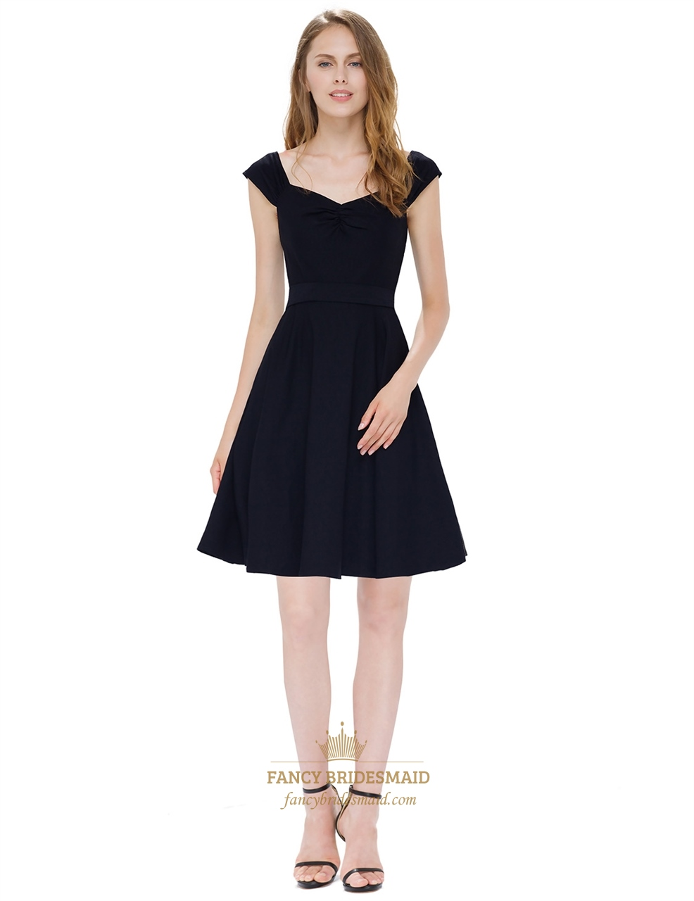 Chic Little Black A Line Sleeveless Cap Sleeves Skater Dress With Belt | Fancy Bridesmaid Dresses
