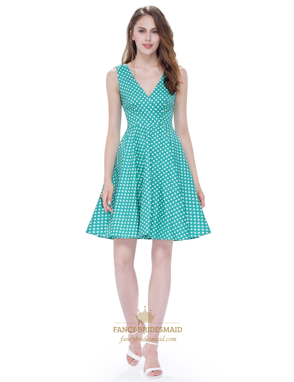 Mint Green And White Polka Dot V Neck Sleeveless Fit And Flare Dress ...